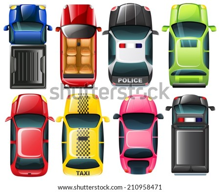 Illustration of the topview of the different type of vehicles on a white background - stock vector