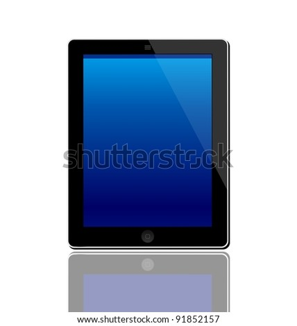 Illustration of the turned on computer tablet with reflection isolated on a white background - vector - stock vector