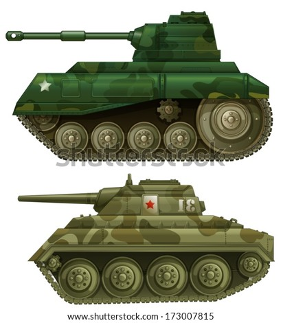 Illustration of the two armored tanks on a white background - stock vector