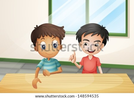 Illustration of the two boys near the wooden table - stock vector