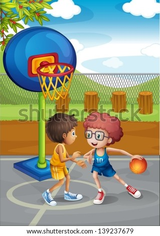 Illustration of the two boys playing basketball at the basketball court - stock vector