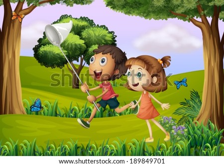 Illustration of the two kids playing at the forest with a net - stock vector