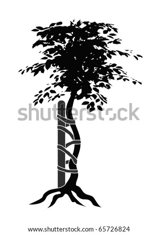 Illustration of the typical symbol for orthopedic medicals or doctors showing a buckled tree - stock vector