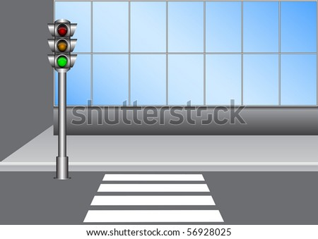 Illustration of the urban traffic light on the street with crosswalk - stock vector