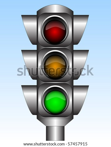 Illustration of the urban traffic light with green light - stock vector
