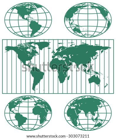 Illustration of the various globes hemisphere and world map. Elements of this image furnished by NASA  - stock vector