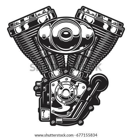 Harley Davidson Shovelhead Engine Vector