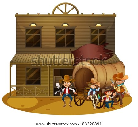 Illustration of the Western people outside the wagon on a white background - stock vector