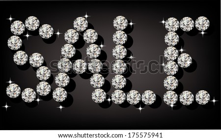"""illustration of the word """"sale"""" of diamonds - stock vector"""
