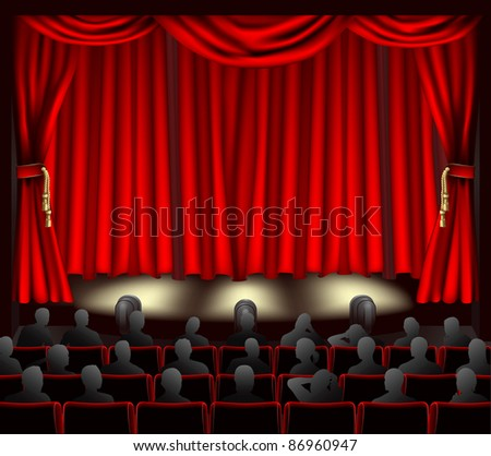 Illustration of theatre with curtains and audience. - stock vector