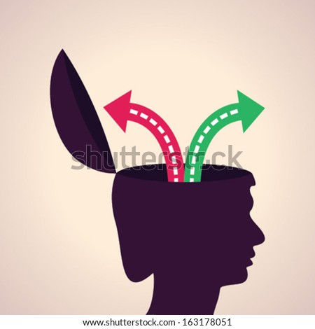 Illustration of  thinking concept -choose right or wrong path - stock vector