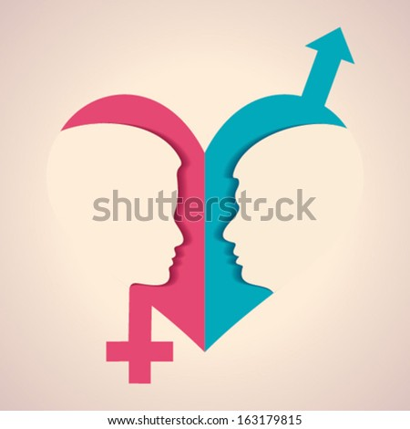 Illustration of thinking concept - human head with male female symbol - stock vector