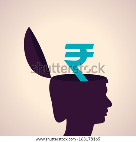 Illustration of thinking concept - human head with rupee symbol - stock vector