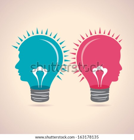 Illustration of thinking concept - male and female head light-bulb  - stock vector