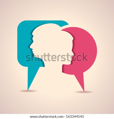 Illustration of thinking concept- male face with like symbol - stock vector