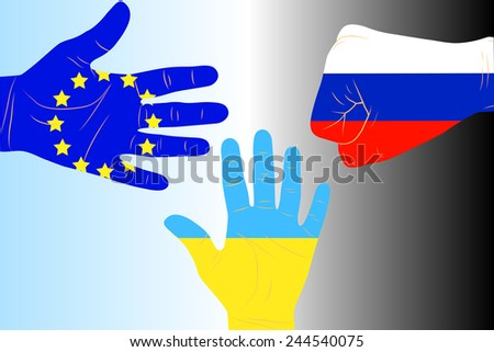 Illustration of three arms-flags Ukraine, European Union and Russia - stock vector