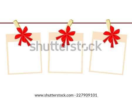 Illustration of Three Blank Instant Photo Prints or Frames Hanging on Red Bows Clothespins, Copy Space for Text Decorated. - stock vector