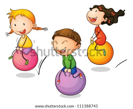 Illustration of three bouncing kids - stock vector