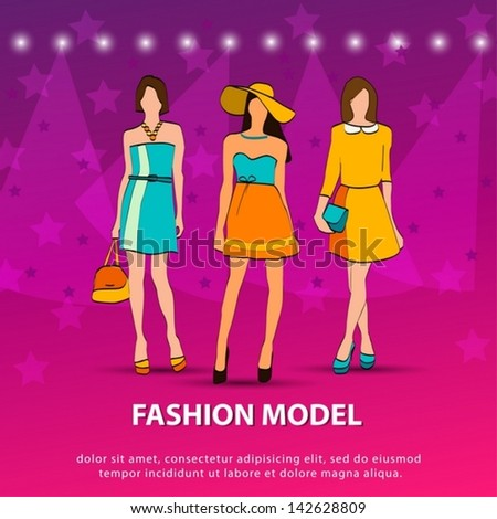 Illustration of three models on the Summer Fashion Show. Vector EPS10 - stock vector