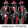 Illustration of three saxophonists on a black background - stock photo