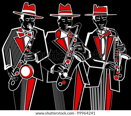 Illustration of three saxophonists on a black background - stock vector