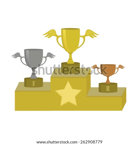 Illustration of three sport cups for first, second and third place on the podium. - stock vector