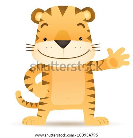 Illustration of Tigo the Tiger waving hand - stock vector