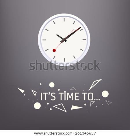 Illustration of time clock with decorated caption - stock vector