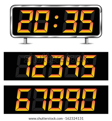 Illustration of timer with set of numbers - stock vector