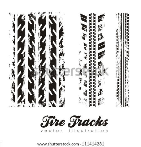 illustration of tire marks on white background, vector illustration - stock vector