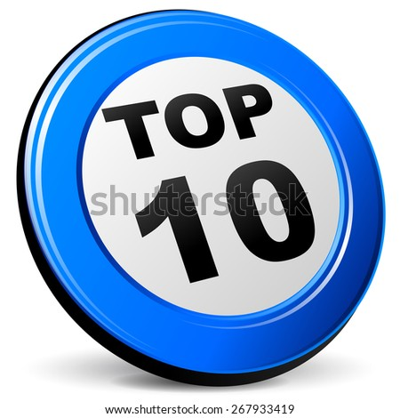 illustration of top ten blue design 3d icon - stock vector