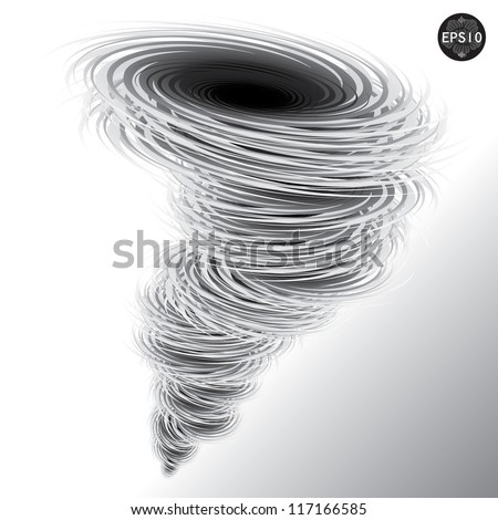 Illustration of tornado, Hurricane, Vector - stock vector
