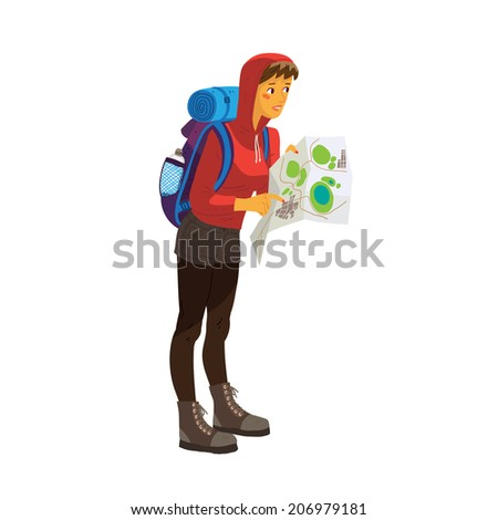 Illustration of tourist looking for a way with map