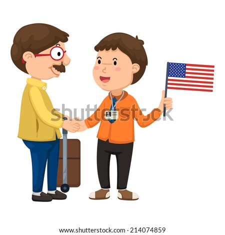 Illustration of tourists and guide vector - stock vector