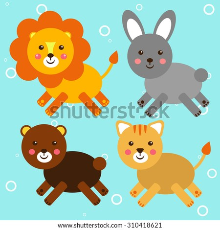 Illustration of toy icons, cat, kitten, rabbit, hare, lion, bear, vector.