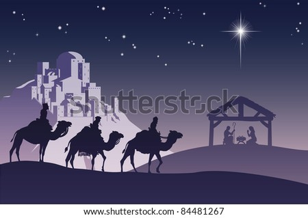 Illustration of traditional Christian Christmas Nativity scene with the three wise men going to meet baby Jesus in the manger.