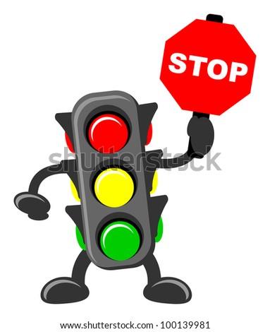illustration of traffic light cartoon with traffic sign - stock vector