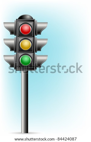 illustration of traffic signal on pole on abstract background - stock vector