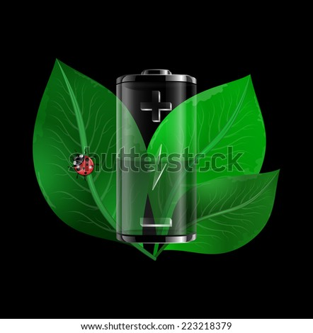Illustration of transparent battery with green leaves and ladybug  - stock vector