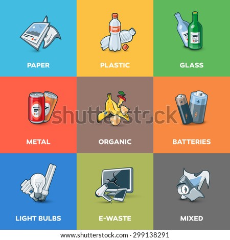 Illustration of trash categories with organic, paper, plastic, glass, metal, e-waste, batteries, light bulbs and mixed waste. Waste types segregation recycling management concept.  - stock vector