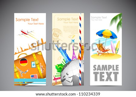 illustration of travel banner and photograph of sea beach - stock vector