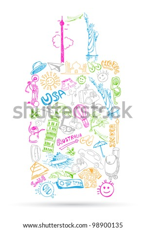 illustration of travel element doddle in shape of luggage - stock vector