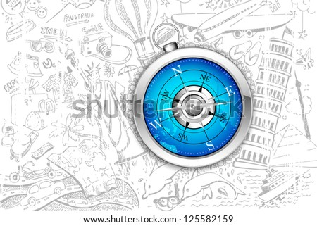 illustration of travel element doodle around compass - stock vector