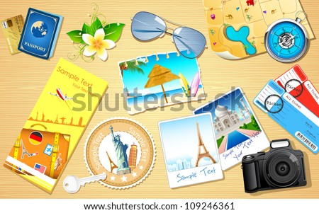 illustration of travel photograph and camera - stock vector