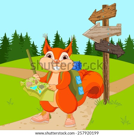 Illustration of traveler squirrel follows the signpost route - stock vector