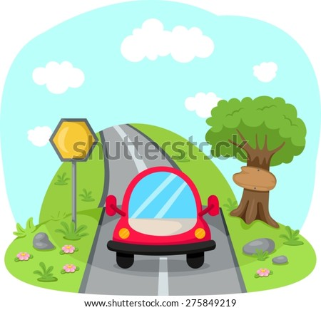 illustration of traveling car on country road  - stock vector