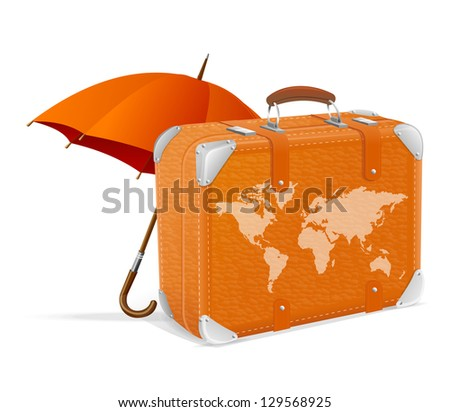 illustration of traveling element baggage and umbrella - stock vector