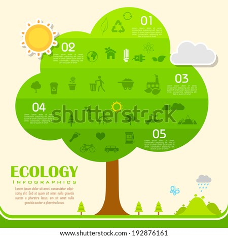 illustration of tree in environmental infographic - stock vector