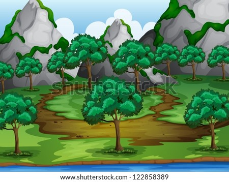Illustration of trees and moutains in a beautiful nature - stock vector