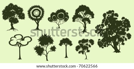 Illustration of trees in fantasic style